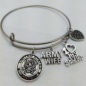 Army Wife - I Love My Soldier Bangle Bracelet